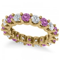 Diamond & Pink Sapphire Eternity Wedding Band 14k Yellow Gold (3.53ct)
