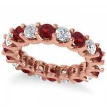 Diamond & Ruby Eternity Wedding Band 14k Rose Gold (3.53ct)