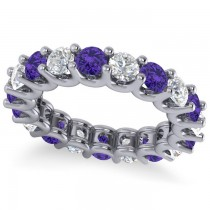 Diamond & Tanzanite Eternity Wedding Band 14k White Gold (3.53ct)
