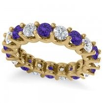 Diamond & Tanzanite Eternity Wedding Band 14k Yellow Gold (3.53ct)