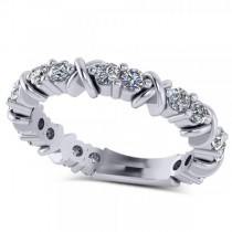 Diamond XOXO Ring Wedding Band 14k White Gold (0.80ct)
