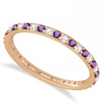 Diamond & Amethyst Eternity Wedding Band 14k Rose Gold (0.57ct)