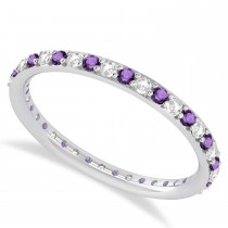 Diamond & Amethyst Eternity Wedding Band 14k White Gold (0.57ct)