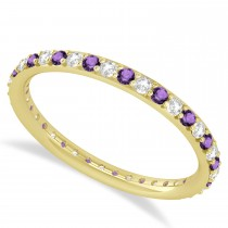 Diamond & Amethyst Eternity Wedding Band 14k Yellow Gold (0.57ct)