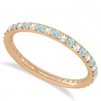 Diamond & Aquamarine Eternity Wedding Band 14k Rose Gold (0.57ct)