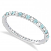 Diamond & Aquamarine Eternity Wedding Band 14k White Gold (0.57ct)