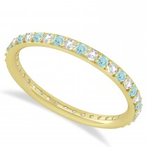 Diamond & Aquamarine Eternity Wedding Band 14k Yellow Gold (0.57ct)
