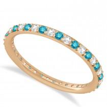 Blue & White Diamond Eternity Wedding Band 14k Rose Gold (0.57ct)