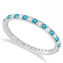 Blue Diamond Eternity Wedding Band 14k White Gold (0.57ct)