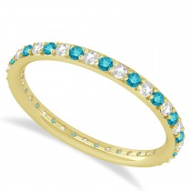Blue & White Diamond Eternity Wedding Band 14k Yellow Gold (0.57ct)