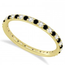Black & White Diamond Eternity Wedding Band 14k Yellow Gold (0.57ct)