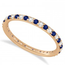 Diamond & Blue Sapphire Eternity Wedding Band 14k Rose Gold (0.57ct)