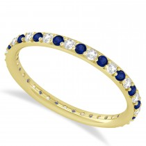 Diamond & Blue Sapphire Eternity Wedding Band 14k Yellow Gold (0.57ct)