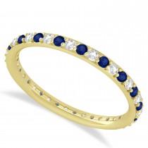 Diamond & Blue Sapphire Eternity Wedding Band 14k Yellow Gold (0.57ct)