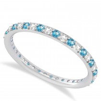 Diamond & Blue Topaz Eternity Wedding Band 14k White Gold (0.57ct)