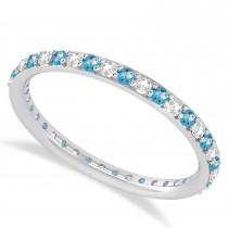 Diamond & Blue Topaz Eternity Wedding Band 14k White Gold (0.57ct)