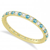 Diamond & Blue Topaz Eternity Wedding Band 14k Yellow Gold (0.57ct)