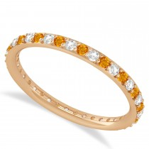 Diamond & Citrine Eternity Wedding Band 14k Rose Gold (0.57ct)