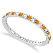 Diamond & Citrine Eternity Wedding Band 14k White Gold (0.57ct)