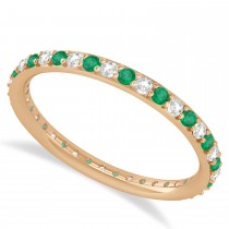 Diamond & Emerald Eternity Wedding Band 14k Rose Gold (0.57ct)