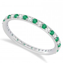 Diamond & Emerald Eternity Wedding Band 14k White Gold (0.57ct)