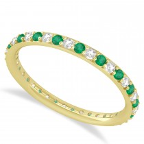 Diamond & Emerald Eternity Wedding Band 14k Yellow Gold (0.57ct)