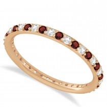 Diamond & Garnet Eternity Wedding Band 14k Rose Gold (0.57ct)