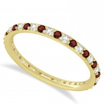 Diamond & Garnet Eternity Wedding Band 14k Yellow Gold (0.57ct)