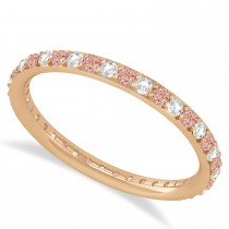 Diamond & Morganite Eternity Wedding Band 14k Rose Gold (0.57ct)