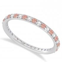 Diamond & Morganite Eternity Wedding Band 14k White Gold (0.57ct)