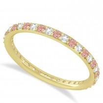 Diamond & Morganite Eternity Wedding Band 14k Yellow Gold (0.57ct)