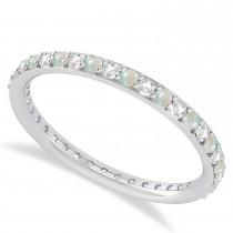 Diamond & Opal Eternity Wedding Band 14k White Gold (0.57ct)