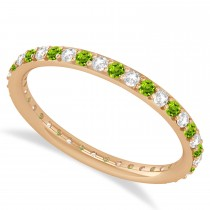 Diamond & Peridot Eternity Wedding Band 14k Rose Gold (0.57ct)