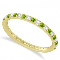 Diamond & Peridot Eternity Wedding Band 14k Yellow Gold (0.57ct)