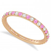 Diamond & Pink Sapphire Eternity Wedding Band 14k Rose Gold (0.57ct)