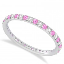 Diamond & Pink Sapphire Eternity Wedding Band 14k White Gold (0.57ct)