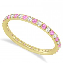 Diamond & Pink Sapphire Eternity Wedding Band 14k Yellow Gold (0.57ct)