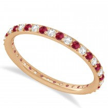 Diamond & Ruby Eternity Wedding Band 14k Rose Gold (0.57ct)