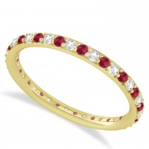 Diamond & Ruby Eternity Wedding Band 14k Yellow Gold (0.57ct)