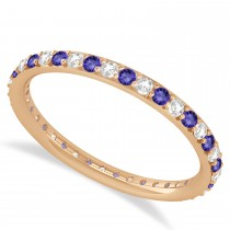 Diamond & Tanzanite Eternity Wedding Band 14k Rose Gold (0.57ct)
