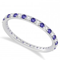 Diamond & Tanzanite Eternity Wedding Band 14k White Gold (0.57ct)
