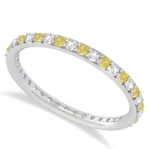 Yellow & White Diamond Eternity Wedding Band 14k White Gold (0.57ct)