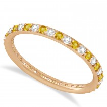 Diamond & Yellow Sapphire Eternity Wedding Band 14k Rose Gold (0.57ct)