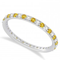Diamond & Yellow Sapphire Eternity Wedding Band 14k White Gold (0.57ct)