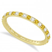 Diamond & Yellow Sapphire Eternity Wedding Band 14k Yellow Gold (0.57ct)
