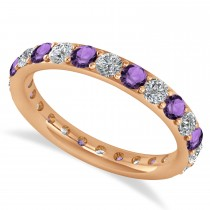 Diamond & Amethyst Eternity Wedding Band 14k Rose Gold (1.44ct)