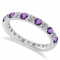 Diamond & Amethyst Eternity Wedding Band 14k White Gold (1.44ct)
