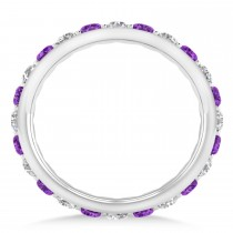 Diamond & Amethyst Eternity Wedding Band 14k White Gold (1.50ct)
