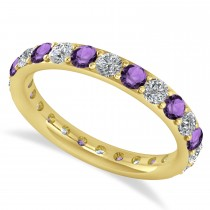 Diamond & Amethyst Eternity Wedding Band 14k Yellow Gold (1.50ct)