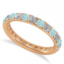 Diamond & Aquamarine Eternity Wedding Band 14k Rose Gold (1.50ct)